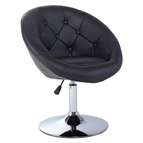 Costway Swivel Accent Chair Tufted Round-Back Tilt Chrome Co
