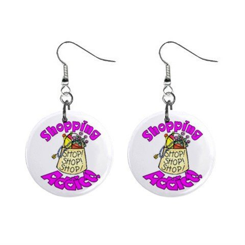 Shopping Addict Novelty Dangle Button Earrings Jewelry 1 inch Round 14006609