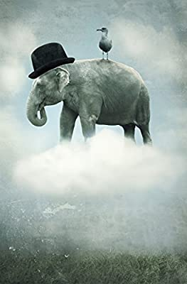 JP London Mural Elephant Kids Cloud Carnival Sky at 2 Wide by 3 feet high SPMUR2304 Fully Removable Peel and Stick Wall Art