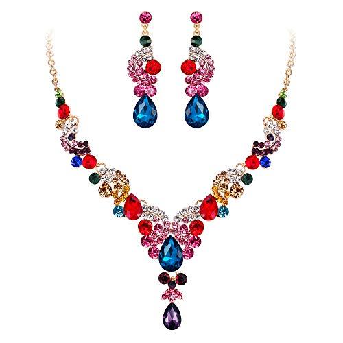 EVER FAITH Austrian Crystal Bridal Floral Wave Teardrop Necklace Earrings Set Multicolor Gold-Tone