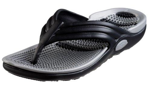 Bertelli New Mens Thong Beach Sandal Slippers in 4 Bright Fun Colors And Bi-layered Sole (8, Black/Grey)