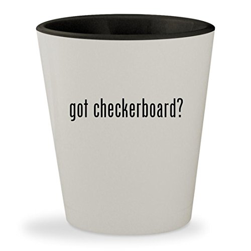 got checkerboard? - White Outer & Black Inner Ceramic 1.5oz Shot Glass