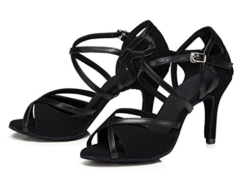 Shoes Fashion Women's High Strap Ankle Stiletto Suede Dance Heel TDA Black Latin qTnxwAgvA