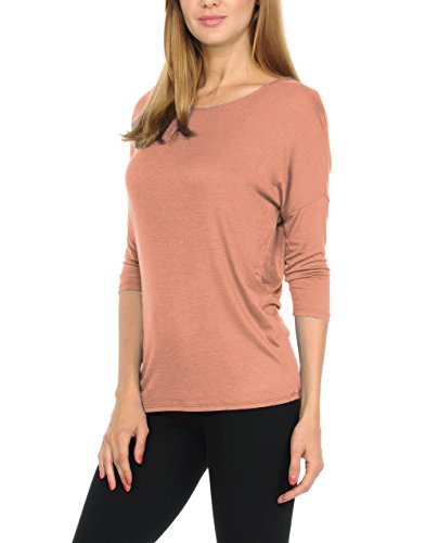 - bluensquare Women T-Shirts Soft Rayon Jersey Top - 3/4 Dolman Sleeves, 5 Sizes(S-XXL) (Large, Mauve)