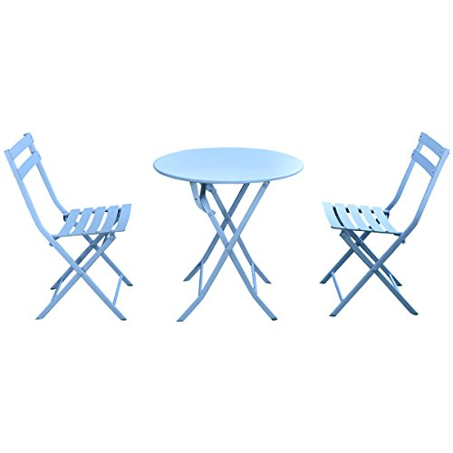 Giantex 3 PC Folding Bistro-Style Patio Table and Chair Set Outdoor Patio Garden Pool Backyard Furniture(Light Bue)