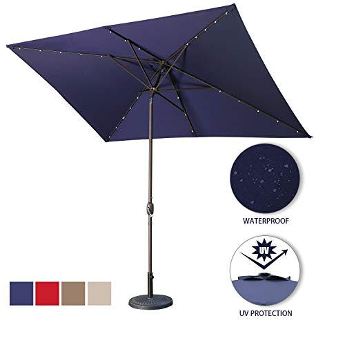 - Aok Garden Solar LED Outdoor Umbrella,10x6.5 Feet Rectangular Patio Umbrella with Push Button Tilt and Crank Lift Ventilation,6 Sturdy Ribs Non-Fading Sunshade,Navy Blue