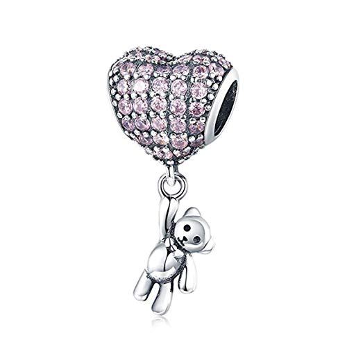 Junolla Teddy Bear Charms 925 Sterling Silver Enamel Heart Dangle Charm fit Bracelets Women Girl Love Charms fit Pandora Charms