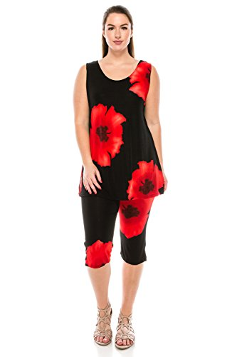 Jostar Women's Stretchy Tank Capri Pant Set Print Medium Red Flower