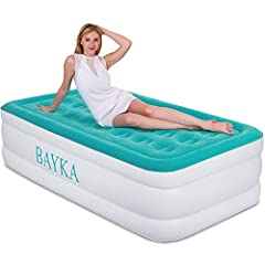 ✨TipsStretching is a natural occurrence of new vinyl. During the first day of use, this air mattress may become soft and require additional inflation to maintain desired firmness, but do not over inflate this bed for more than 5 minutes.