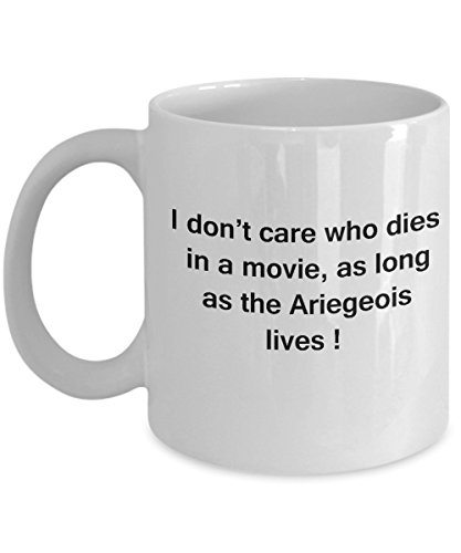 Funny Dog Coffee Mug for Dog Lovers - I Don't Care Who Dies, As Long As Ariegeois Lives - Ceramic Fun Cute Dog Cup White Coffee Mug, 11 Oz 1