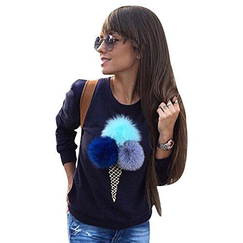 Highdas mujeres ocasionales de mangas largas de amortiguar la bola del cono de helado Impreso suéter azul oscuro