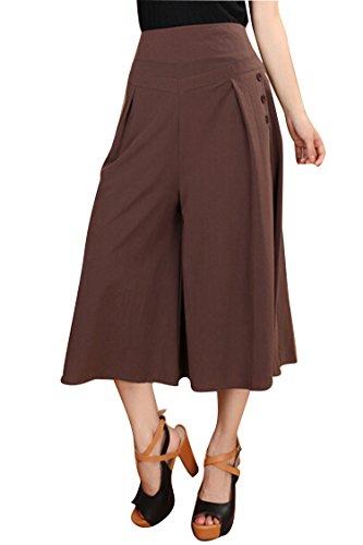 Women's Soft Capri Length Palazzo Stretch Gaucho 3 4 Culottes Pants L ()
