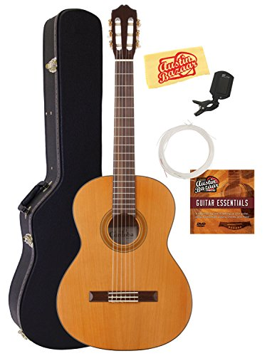 Cordoba C3M Classical Guitar Bundle with Hard Case, Tuner, Austin Bazaar Instructional DVD, and Polishing Cloth