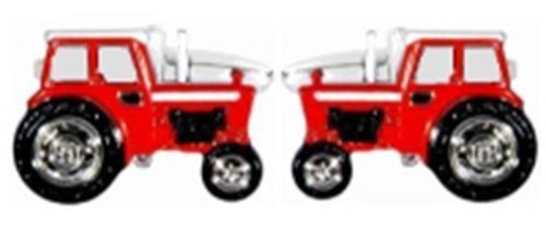 Boutons de manchette Homme-Tracteur-Plaqué Rhodium-cadeau Rouge