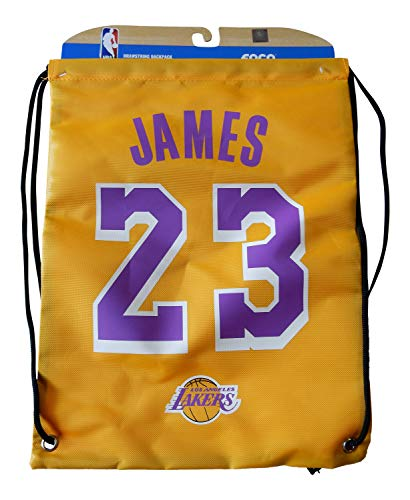 NBA Los Angeles Lakers LeBron James #23 Player Drawstring Backpack, Los Angeles Lakers, One -