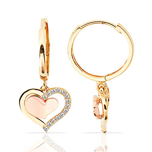 14K Rose and Yellow Gold Heart Dangling Earrings With CZ for Women and Girls