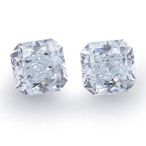 Leibish & Co 1.55 Carat Light Blue Loose Diamond Natural Color Radiant Cut Pair GIA Certified