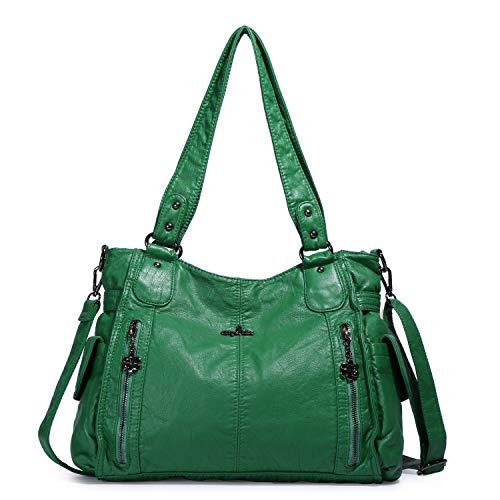 Handbag Hobo Women Shoulder Bag/Handbag Roomy Multiple Pockets Fashion PU Tote, Green (Kathy Van Zeeland Purses Green)