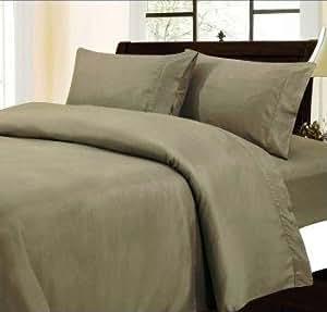 Dreamz–Juego de ropa de cama 350hilos sábana bajera (bolsillo profundo: 30pulgada) con 2fundas de almohada emperador, gris sólido, 350TC 100% algodón Extra profundo bolsillo sábana bajera