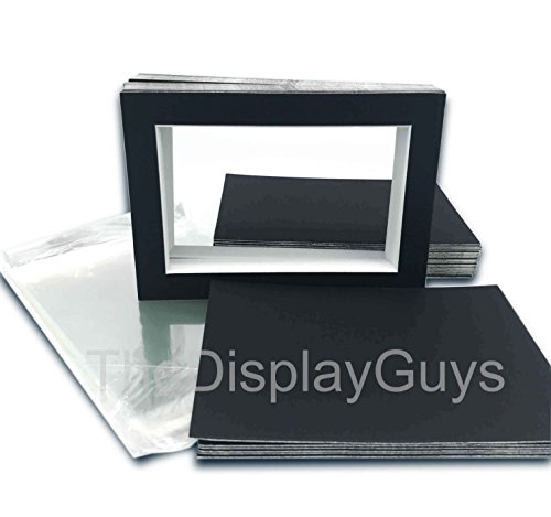 The Display Guys, 25 sets 11x14 inches Black Picture Photo Matting Mats Boards (White Core Bevel Cut) + Black Back Boards + Clear Plastic Bags (25 pcs black complete set)