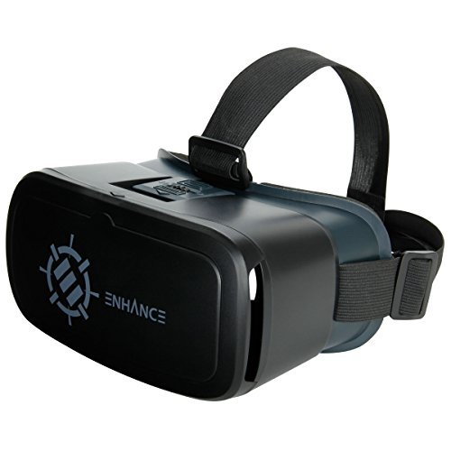 ENHANCE VR Headset Goggles for Smartphones - Universal Virtual Reality Headset with Comfort Padding & Head Strap, Adjustable Object & Pupillary Distance - Google Cardboard , Samsung Apps & More