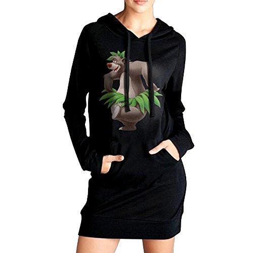 [JHH Women's The Jungle Book Bear Baloo 456 Sweatshirts Pockets Hoodie Dress Black Size S] (The Jungle Book Baloo Costume)