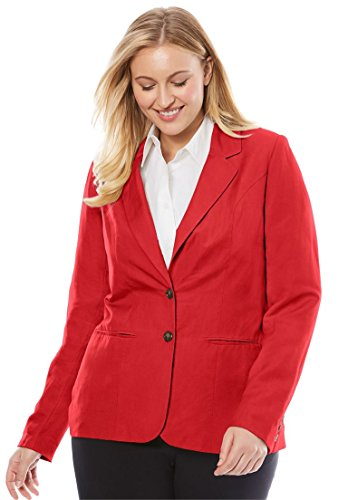 Fully Lined Tailored Blazer (Jessica London Women's Plus Size Single-Breasted Linen Blazer Hot Red,28)