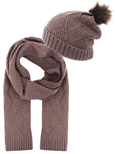 Taupe Diamond Knit Matching Beanie Cap Scarf Set With Fur Pom Pom