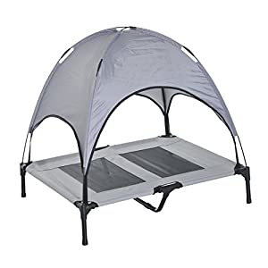 Pawhut Elevated Cooling Dog Bed Cot w/ Canopy Shade - Gray (36 inch)
