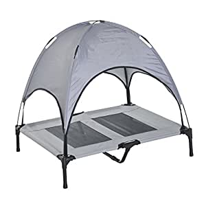 Amazon.com : Pawhut Elevated Cooling Dog Bed Cot w/ Canopy