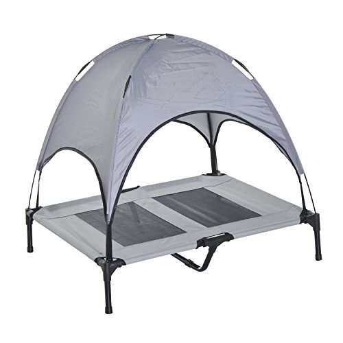 Pawhut Elevated Cooling Dog Bed Cot w/ Canopy Shade - Gray (36 inch) (Folding Pet Portable Bed)