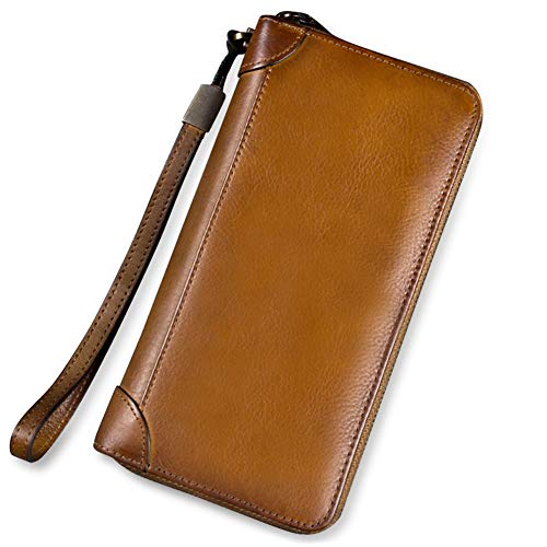 Dual Zip Wallet Organizer - Genuine Leather Wallet for Women Dual Use Zip Long Purse Vintage Handmade Clutch Cowhide Card Holder Organizer (Brown)