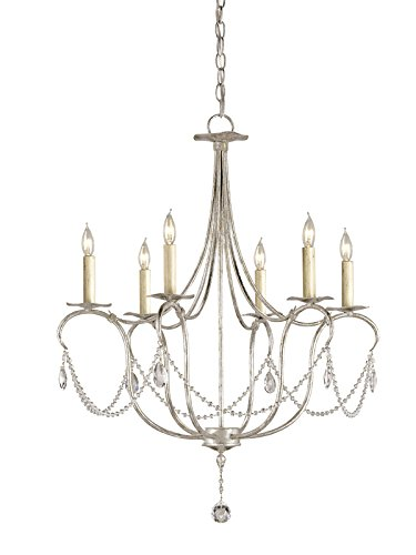 Currey and Company 9890 Crystal - Six Light Small Chandelier, Silver Leaf Finish by Currey and Company (Image #1)