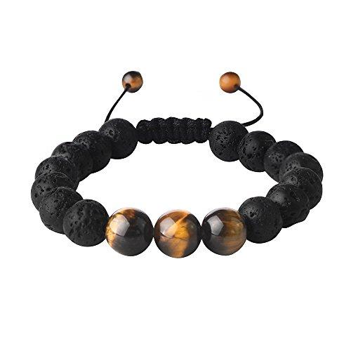 Lava Rock Beads Bracelet Men Beaded Bracelets for Men Healing Gemstone Semi Precious - Strand Essential Oil Bracelets (Bracelet Bali Bead)
