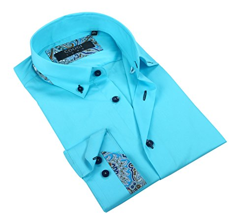 Coogi Luxe 100% Cotton Men's Solid Sky Blue with Trim Patternd Casual Dress Shirt (Large)