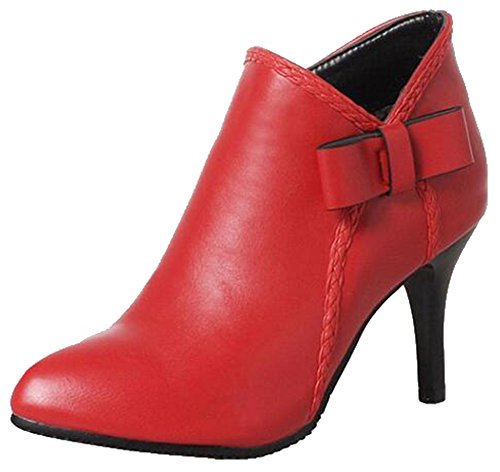 Easemax Womens Trendy Bows Pointed Toe High Stiletto Heel Side Zipper Ankle Boots Red Yhp3vG03