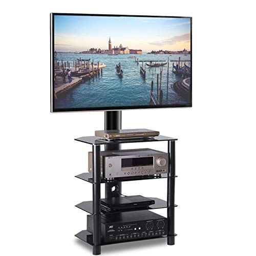 TAVR 4-Tiers Media Component TV Stand with Mount Audio Shelf and Height Adjustable Bracket Suit for 32 37 42 47 50 55 inch LCD, LED OLED TVs or Curved TVs ()