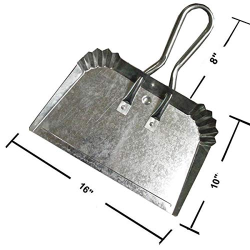(Extra Large Industrial Metal Dust Pan | Doesn't Bend & Extra Wide for Large Easy Clean Ups | Lightweight & Rustproof | Precision Edge for Clean Sweeping)
