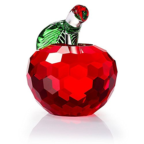 F-ber Crystal Apple Paperweight, 40mm Art Glass Apple Collectible Figurines Best Lucky Christmas Eve Gifts/Great Wedding Decor Gifts (Red)