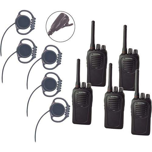 Eartec SC-1000 5-User Two-Way Radio System with 5X Loop Inline PTT Headsets -