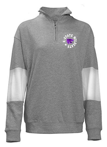 (Old Varsity Brand NCAA Kansas State Wildcats Quarter Zip French Terry Sweatshirt, Gray, Medium)