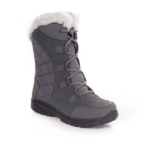 Columbia Women's ICE Maiden II Snow Boot, Shale, Dark Raspberry, 7.5 B US