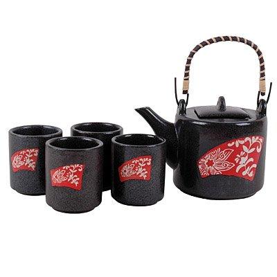 Art Deco Floral Modern Asian Teapot Set 5 Pieces 20 Ounces ()