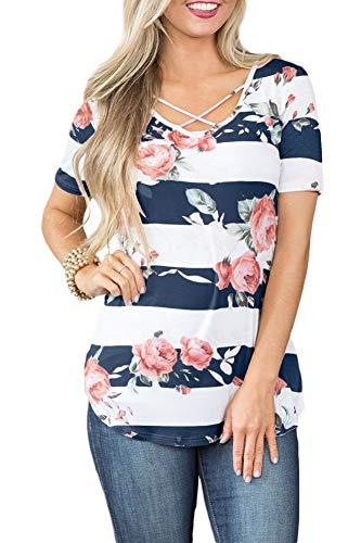 Women's Casual Short Sleeve Summer T Shirt Striped Floral Printed V Neck Criss Cross Tops Navy 2XL