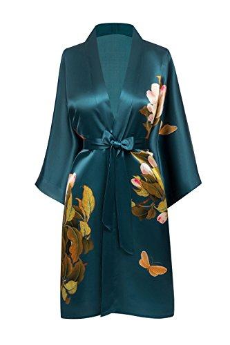 (KIM + ONO Women's Washable Silk Kimono Robe Short - Floral Print, Peony & Butterfly- Vintage Teal)