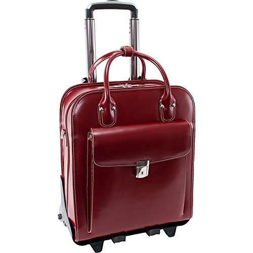 McKleinUSA LA GRANGE 96496 Red Leather Vertical Detachable-Wheeled Ladies' Briefcase