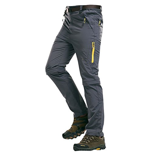 Modern Fantasy Mens Casual Quick-dry Hiking Convertible Pants Detachable Shorts Size US M Gray