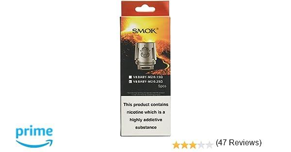 Smok TFV8 Beast Coils M2 - 0.25 Ohm - Paquete de 5, Sin Tabaco y Sin Nicotina: Amazon.es: Salud y cuidado personal