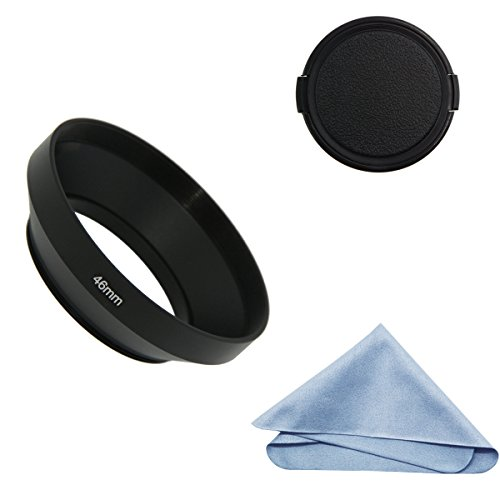 SIOTI Camera Wide Angle Metal Lens Hood with Cleaning Cloth and Lens Cap Compatible with Leica/Fuji/Nikon/Canon/Samsung Standard Thread Lens(46mm)