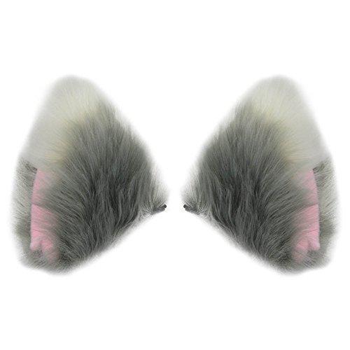 (BAOBAO Fluffy Long Fur Cat Fox Ears Hair Clip Headpiece Cosplay Halloween Costume)